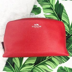 Coach Red Leather Cosmetic Case 22 Makeup Pouch